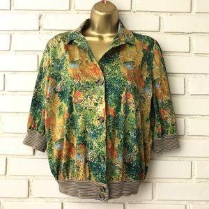 Liola - ultra vintage scene print snap blouse Sz M